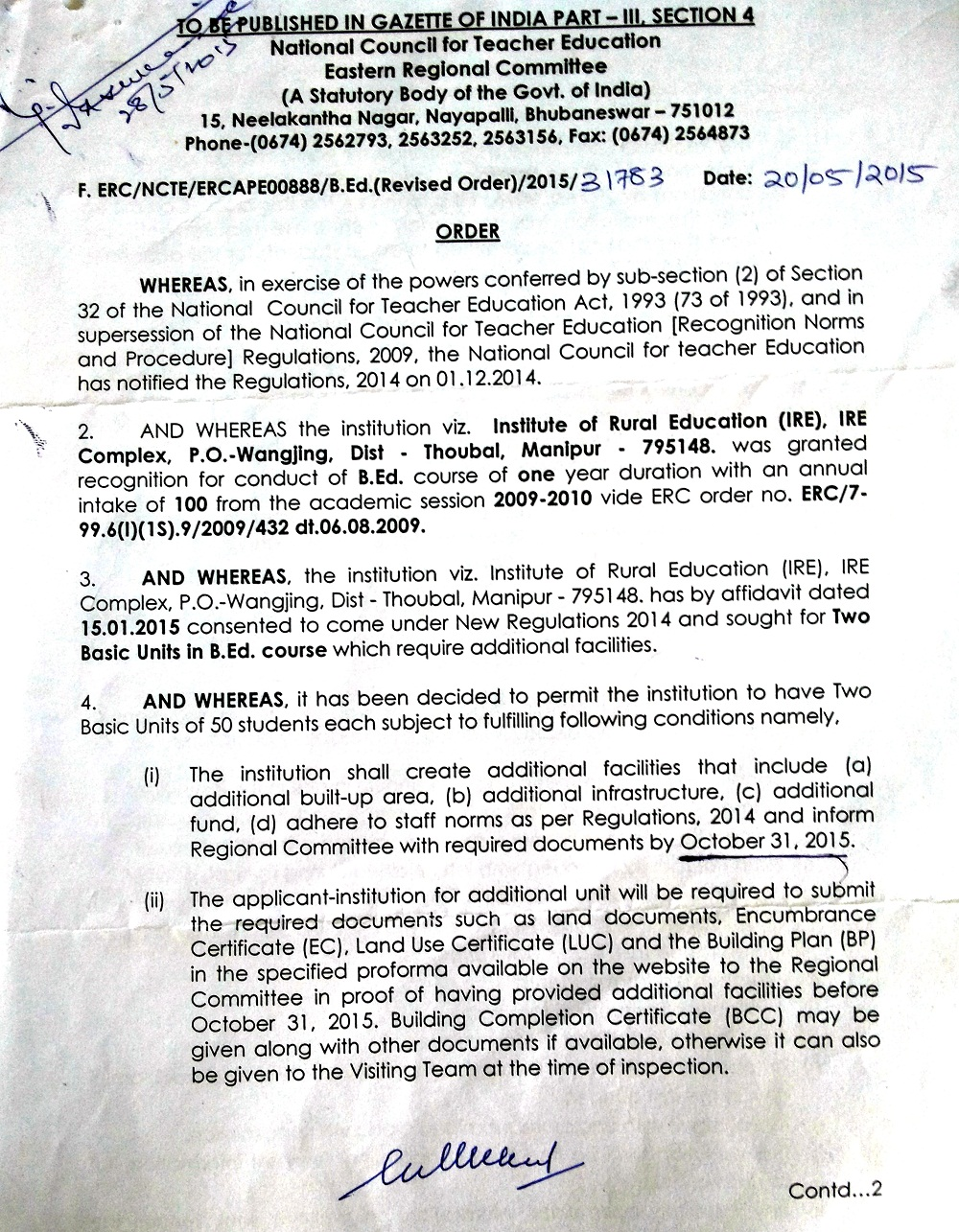 Recognition Order Page 1